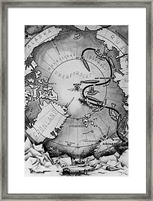 Map Of The Arctic Voyage Of The Airship Lz 127 Graf Zeppelin, 1931 Framed Print by German School