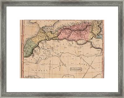 Map Of The Barbary States Of North Framed Print by Everett