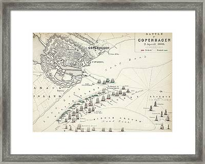 Map Of The Battle Of Copenhagen Framed Print by Alexander Keith Johnston