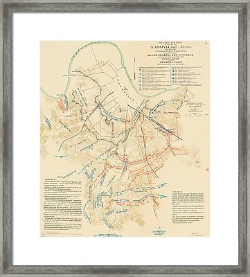 Map Of The Battle Of Nashville - American Civil War Framed Print by Mountain Dreams