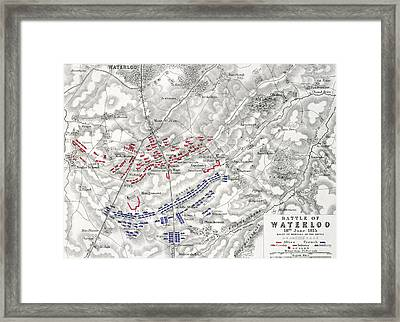 Map Of The Battle Of Waterloo Framed Print by Alexander Keith Johnston