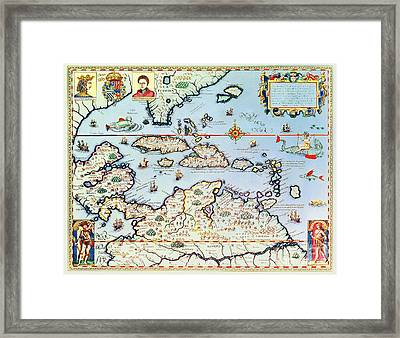 Map Of The Caribbean Islands And The American State Of Florida  Framed Print by Theodore de Bry