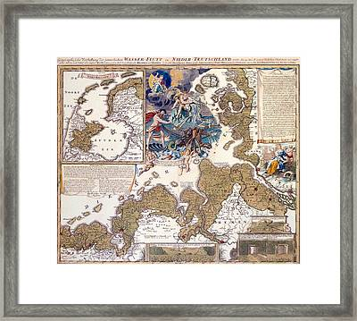 Map Of The Christmas Flood Of 1717 Framed Print by Johann Baptista Homann