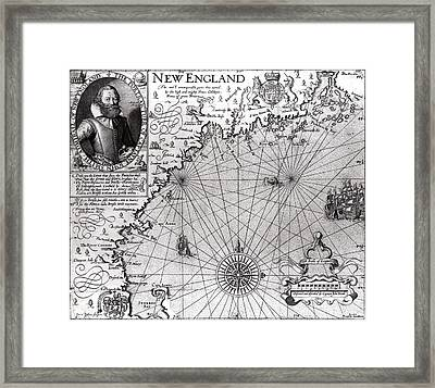 Map Of The Coast Of New England Framed Print