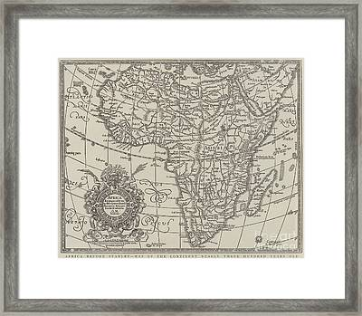 Map Of The Continent Of Africa Nearly Three Hundred Years Old Framed Print by English School