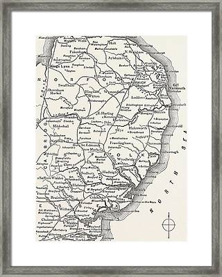 Map Of The East Anglian Rivers Framed Print by English School