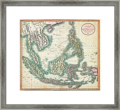 Map Of The East Indies And Southeast Asia  Framed Print