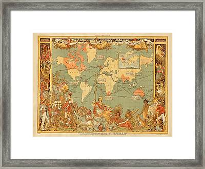 Map Of The Extent Of The British Empire 1886  Framed Print by Mountain Dreams