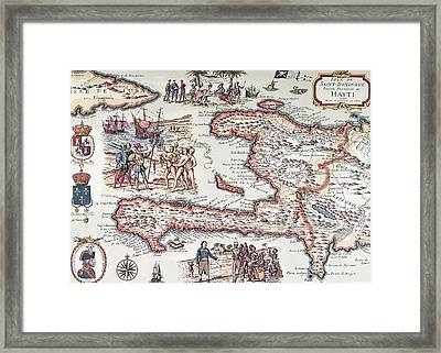 Map Of The Island Of Haiti Framed Print