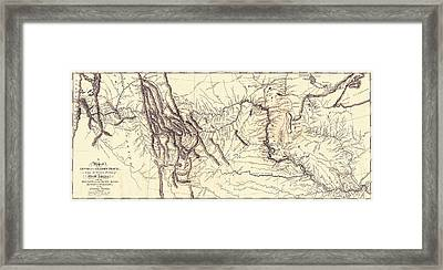 Map Of The Lewis And Clark American Framed Print by Vintage Design Pics