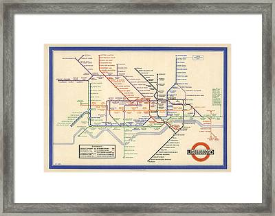 Map Of The London Underground - London Metro - 1933 - Historical Map Framed Print