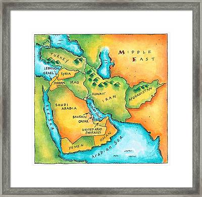 Map Of The Middle East Framed Print