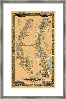 Map Of The Mississippi River 1858 Framed Print by Andrew Fare