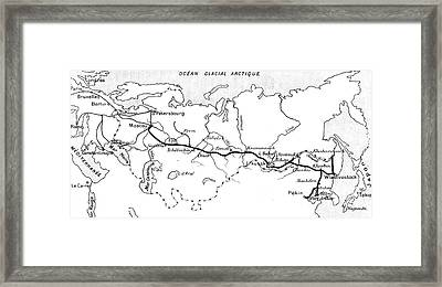 Map Of The Route Of The Trans Siberian Railway Framed Print