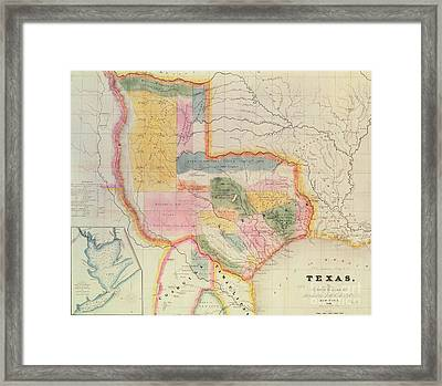 Map Of The State Of Texas, 1835  Framed Print