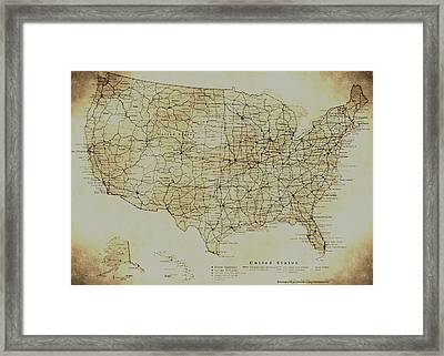 Map Of The United States In Digital Vintage Framed Print