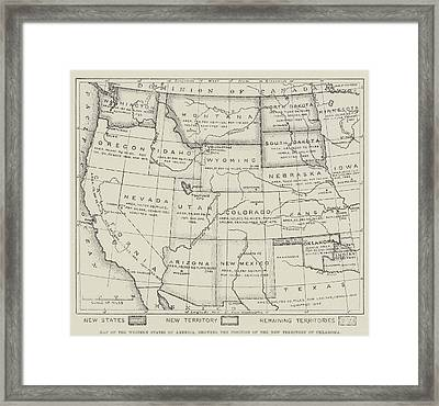 Map Of The Western States Of America Framed Print by English School