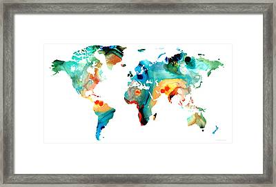 Map Of The World 11 -colorful Abstract Art Framed Print by Sharon Cummings