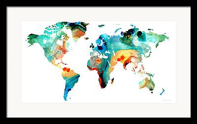 Continents Paintings Framed Prints