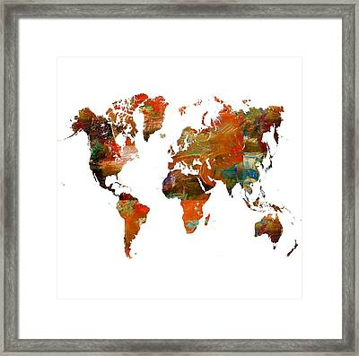 Map Of The World 2- Abstract Art Framed Print