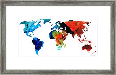 Map Of The World 3 -colorful Abstract Art Framed Print by Sharon Cummings