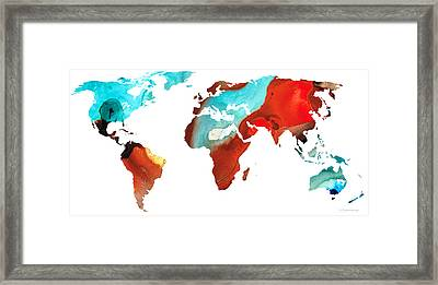 Map Of The World 4 -colorful Abstract Art Framed Print by Sharon Cummings
