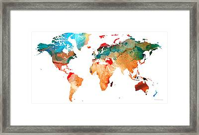 Map Of The World 7 -colorful Abstract Art Framed Print by Sharon Cummings