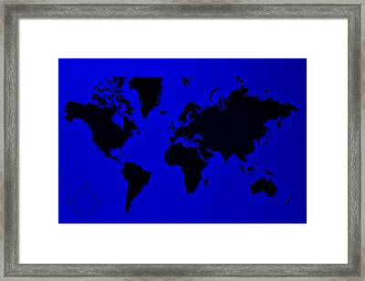 Framed Print featuring the photograph Map Of The World Blue by Rob Hans
