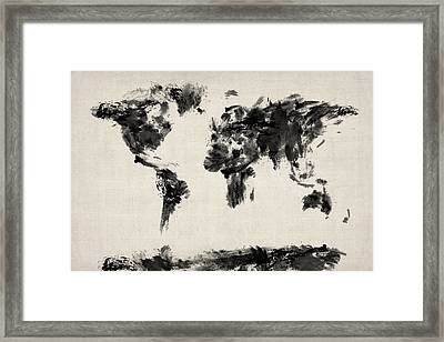 Map Of The World Map Abstract Framed Print by Michael Tompsett