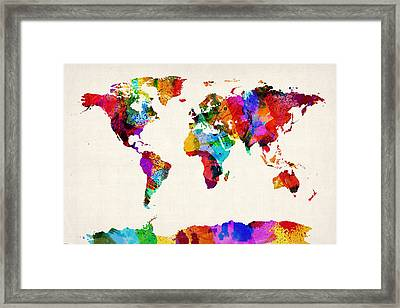 Map Of The World Map Abstract Painting Framed Print by Michael Tompsett