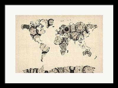 Antique Map Digital Art Framed Prints