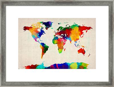 Map Of The World Map Framed Print