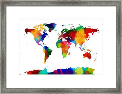 Map Of The World Map Painting Framed Print by Michael Tompsett