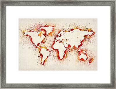 Map Of The World Paint Splashes Framed Print by Michael Tompsett