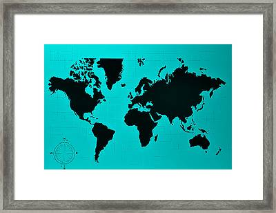 Framed Print featuring the photograph Map Of The World Turquoise by Rob Hans