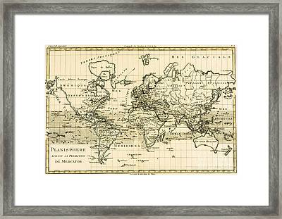 Map Of The World Using The Mercator Projection Framed Print by Guillaume Raynal
