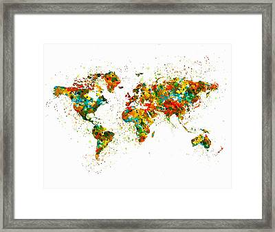 Map Of The World Watercolor Framed Print