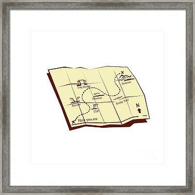 Map Of Trail With X Marks The Spot Woodcut Framed Print