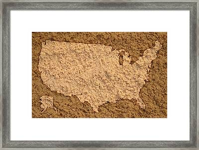 Map Of Usa On Sandy Beach Framed Print by Design Turnpike
