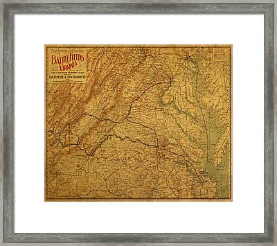 Map Of Virginia Battlefields Civil War Circa 1892 On Worn Distressed Vintage Canvas Framed Print
