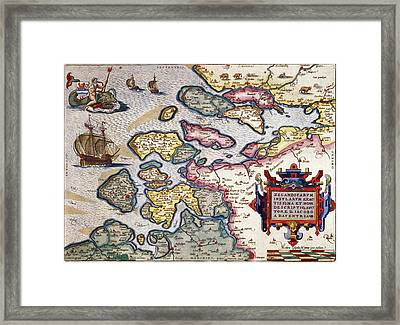 Map Of Zeeland Framed Print