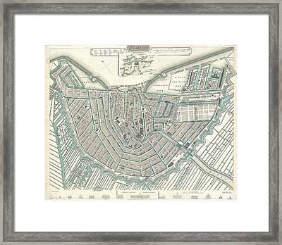 Map Or Plan Of Amsterdam Framed Print