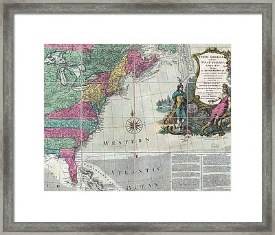 Map Showing The 13 British Colonies Framed Print by Everett