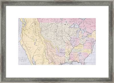 Map Showing The Localities Of The Indian Tribes Of The Us In 1833 Framed Print
