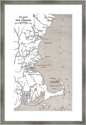 Map Showing The Settlements In The New England Colonies, North America In The 17th Century Framed Print