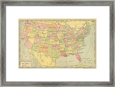 Framed Print featuring the digital art Map Usa 1909 by Digital Art Cafe