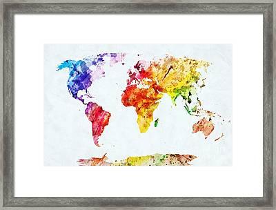 Map Watercolor Framed Print