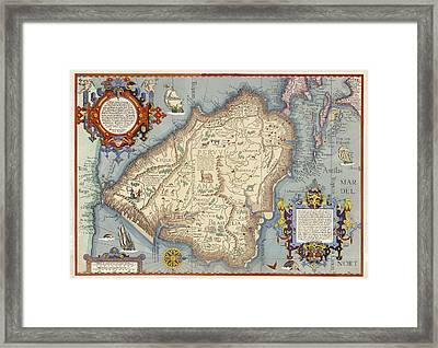 Map With Animals, Ships, Cherubs Framed Print