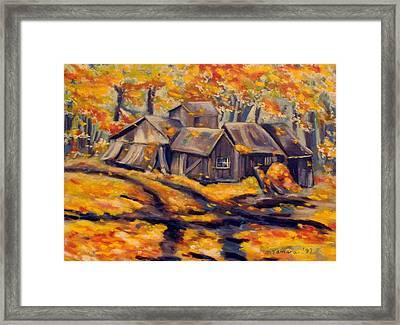 Maple Sugar Shack In Quebec Framed Print by Tamara Kulish