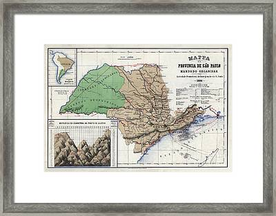 Mappa Da Provincia De Sao Paulo - 1886 Framed Print